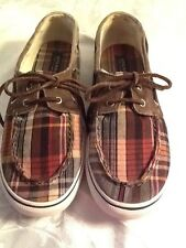 Sperry Top Sider  Canvas Boys Sz. 5M Brown Plaid, Slip On,Laces, Deck Shoes
