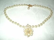 """Faux Pearl Necklace Ivory with Flower Pendant by Nolan Miller Crystal Accent 18"""""""