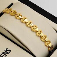 "Women Heart Chain Bracelet 18K Yellow Gold Filled 7.5"" Charm Link unique Jewelry"