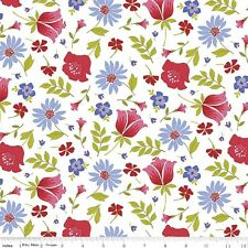 """Penny Rose Fabric """"Meadow Sweet"""" By the Yard #1364 White Floral by Jill Fenley"""