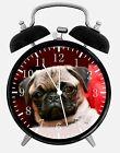 "Cute Pug Alarm Desk Clock 3.75"" Home or Office Decor E364 Nice Gift"