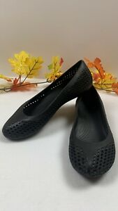 Crocs Crosmesh Ballet Flat Black Star Cutout 8 Women