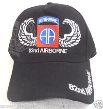 MILITARY BALL CAP 82ND AIRBORNE ARMY HAT  BLACK  WITH SHADOW