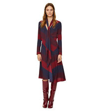 TORY BURCH Lyon Verticle Faux Wrap Dress Burgundy Navy Without Tie NWT 4