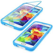 Samsung Galaxy S5 Schutz Hülle Flip Touch Case Slim Cover Book Style in Blau