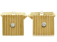 Vintage German Art Deco Style 0.06 Ct Diamond 18k Yellow Gold Cufflinks