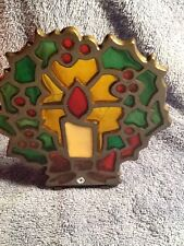 Vintages Cast Iron Stain Glass Christmas Wreath With Candle Holder
