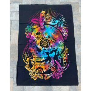 Skull BLK Multi 100% Cotton Poster Size Wall Hanging Tapestry 45 x 29 Home Decor