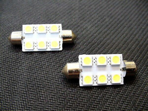 41mm Cool White Interior Courtesy Dome Light Bulbs LEDs Lamp Lens 1965-95 Ford