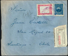 2519 PARAGUAY TO CHILE REGISTERED COVER 1926 ASUNCION . SANTIAGO MAP STAMP