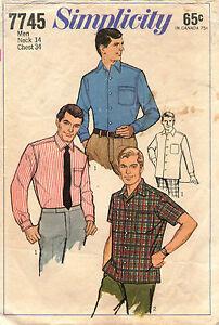 1960's VTG Simplicity Men's Tapered Sport Shirt Pattern 7745 Size 34