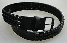 """Manzoor Genuine Leather Belt with 3 rows Black 1/2"""" Pyramid Studs Made in U.S.A."""