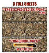 "3 CAMOUFLAGE VINYL DECAL 48"" x 15"" TRUCK CAMO TREE PRINT DUCK CAMO GRASS"