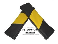2x Seat Belt Covers Shoulders Pads Black & Yellow Leather Style Design
