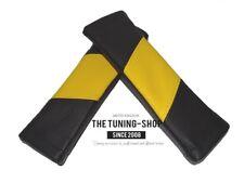 2x pastillas de hombros cubiertas de cinturón de seguridad diseño de estilo de cuero negro y amarillo