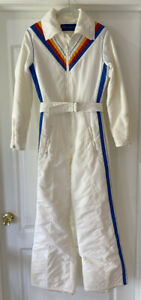 Obermeyer RARE VIntage Womens TINA One Piece Ski Snow Winter White Stripe S/10