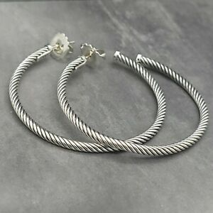 """David Yurman Classic Cable 2"""" Inch Crossover Hoop Sterling Silver Earrings"""