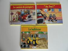 Lot de 3 livres Ma ville - Atlas Jeunesse (pompiers, bulldozer)