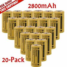 20x 3.7V CR123A 16340 2800mAh Purple GTL Rechargeable Battery Cell -Flashlight Y