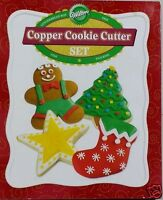 Wilton Christmas Copper Cookie Cutter 4pc Set Gingerbread Star Stocking Tree New