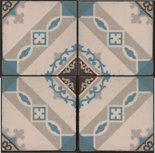 Belgian/French period entrance hall floor fireplace hearth 4 encaustic tile set