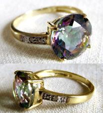 Scontatissimo ANELLO ORO MYSTIC TOPAZ c.4 e piccoli Diamanti mis.13 1/2 gr.2,1