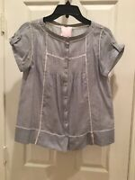 ROMEO AND JULIET Couture Blue/White Pinstripe Blouse Top Size Small Short Sleeve