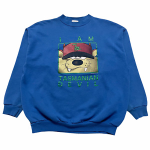Size M - 90s I Am Taz Tasmanian Devil Looney Tune Tultex Crewneck Sweatshirt VTG
