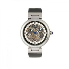 Empress Adelaide Automatic Skeleton Dial Black Leather Women's Watch EM2504