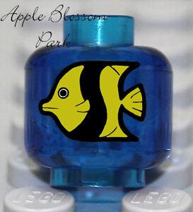 NEW Lego Trans Dark Blue MINIFIG HEAD Tank w/Yellow Black Fish Animal Minifigure