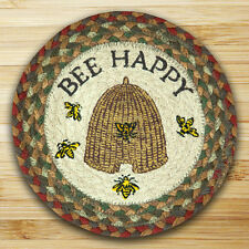"BEE HAPPY 100% Natural Braided Jute Swatch, 10"" Trivet/Placemat, by Earth Rugs"