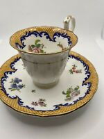 Gold Cobalt Blue Floral Tea Cup Saucer Gold Trim Scalloped Edge