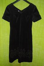 Vintage LAURA ASHLEY Short Sleeves Velvet Little Black Dress