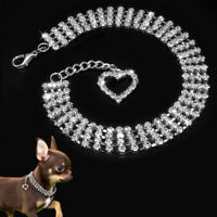 New Rhinestone Pretty Pet Dog Cat Collar Crystal Puppy Necklace Supplies E9C0