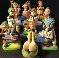GOEBEL IMITATION FIGURINES SET OF 9 APPLE TREE BOY & GIRL VINTAGE