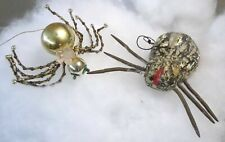 vintage Pair of Spider Ornaments Christmas or Halloween Glass & Composition
