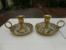 More details for vintage pair of wee willie winkie enamelled brass candle carriers
