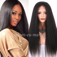 8A Italian Yaki Straight Glueless Full Lace Human Hair Wig For Black Women Black