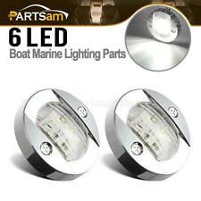 2x Marine Chrome LED Transom Navigation Stern Light Mount Boat Round Anchor IP67