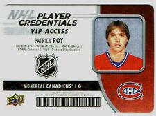 PATRICK ROY 2018-19 UPPER DECK MVP CREDENTIALS NHL-PR (1.CARD)