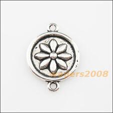 8 New Charms Tibetan Silver Round Flower Pendants DIY Connectors 16x22mm