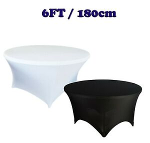 Black White 6ft ROUND TABLE COVER SPANDEX Stretch Wedding Party Buffet