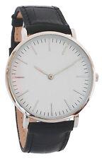 Damenuhr Leder Schwarz 40mm / Armbanduhr / Silber / NEU inkl. Uhrenbox