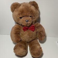 "Vintage Dakin Honey Jo 1986 Brown Teddy Bear 20"" Plush Red Bow Tie Fun Farm Toy"