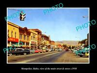 OLD POSTCARD SIZE PHOTO OF MONTPELIER IDAHO THE MAIN STREET & STORES c1950