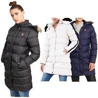 Womens Long Faux Fur Trimmed Hooded Padded Puffer Winter Coat Parka Jacket
