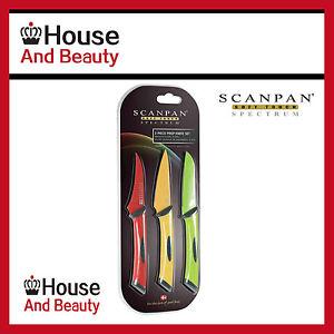 NEW Scanpan Spectrum 3 Piece Prep Knife Set, Paring 8cm / Peeling 7cm /Spear 8cm