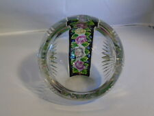 Cut Glass Crystal Orb or Ball Ashtray - Multicolor Roses and Leaves Decal