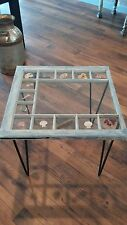 beach inspired side table glass table made from 100 yr old window with glass top