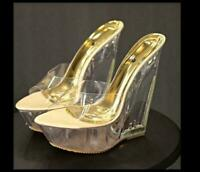 Womens Transparent Wedge High Heel Clear Sandals Open Toe Slippers Fashion Shoes